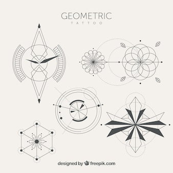 Collection of tattoo with geometric shapes