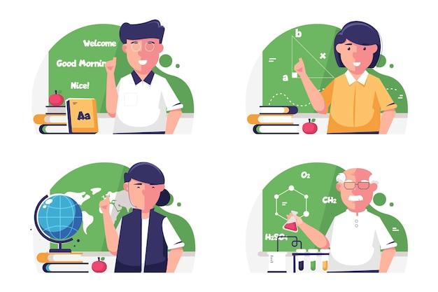 Collection of teacher illustration