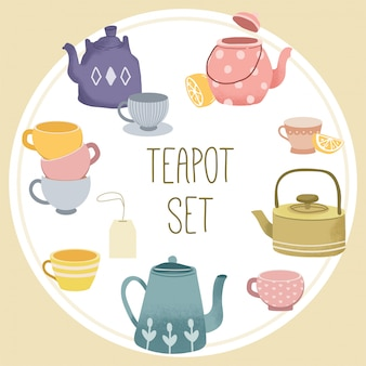 The collection of teapot set.