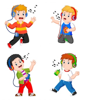 The collection teen boy in big headphones listening to music