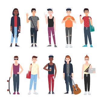 Collection of teenage boys dressed in trendy clothing isolated on white background.