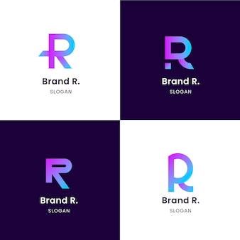 Collection of templates with flat r logos