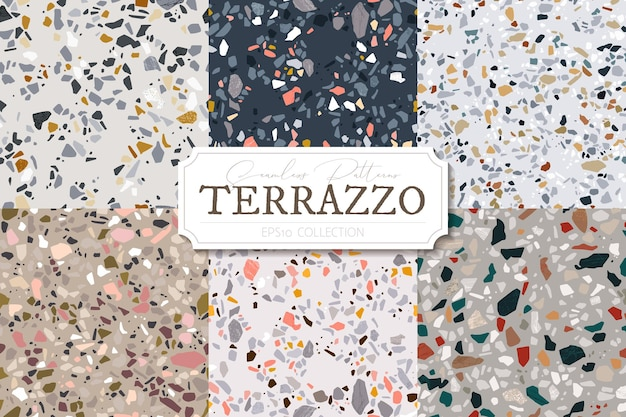 Collection of  terrazzo abstract background set