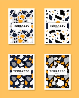 Collection of terrazzo poster vector