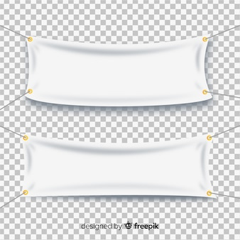 Collection of textile banners in realistic style