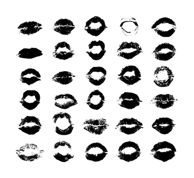 Collection of texture prints of female lips.