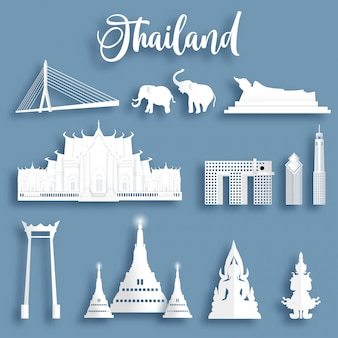 Collection of thailand famous landmarks in paper cut style vector illustration.