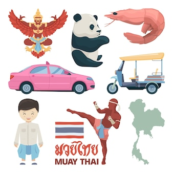 Collection of thailand landmarks and different traditional symbols.