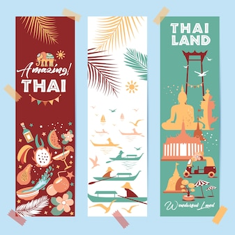 Collection of thailand symbols in banners. poster. postcard in trend color. travel illustration. web banner of travel in differente composition.