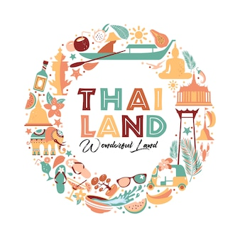 Collection of thailand symbols in wreath. travel illustration. web banner of travel in circle composition.