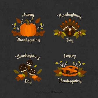 Collection of thanksgiving badge in flat design