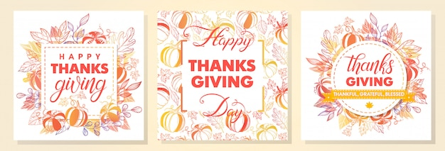 Collection of thanksgiving day greetings,hand painted lettering,autumn bouquets,pumpkins and leaves.perfect for prints,flyers,cards,promos,holiday invitations and more.