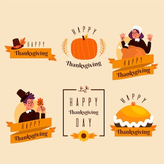 Collection of thanksgiving label in flat design