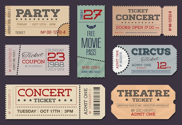 Collection of theater and cinema tickets & coupons