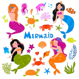 A collection on the theme of the mermaid. image of fabulous marine life.