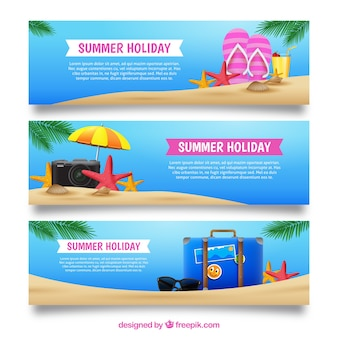 Collection of three banners with realistic summer items