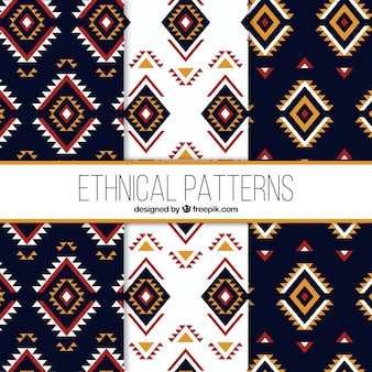 Collection of three ethnic patterns in flat