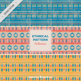 Collection of three ethnic patterns in vintage style