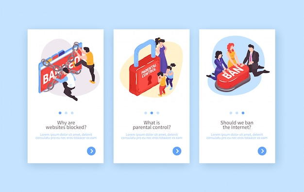 Collection of three isometric banned website vertical banners with conceptual images and editable text with buttons vector illustration