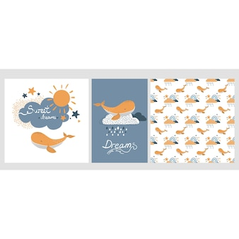 Collection of three nursery posters with blue and yellow raining clouds and whale