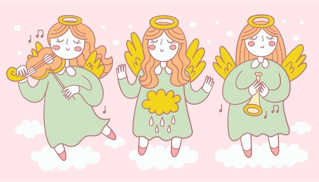 Collection of three pretty angels in different poses