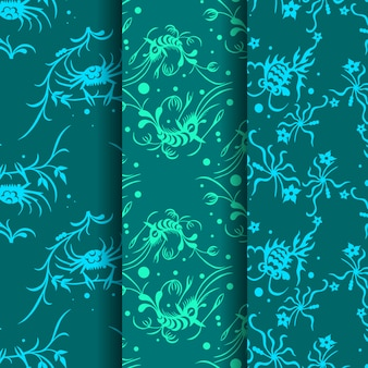 Collection of three sea life seamless patterns