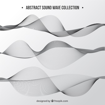 Collection of three sound waves in grey tones