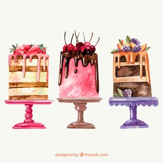 Collection of three watercolor cakes