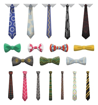 Collection of ties and bow ties. men fashioned accessories. clothes design element over isolated on white background. fabric items for male wardrobe in elegant style.