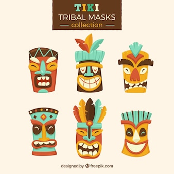 Collection of tiki masks with cartoon style