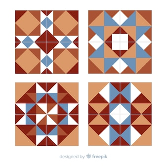 Collection of tiles in flat style