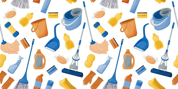Collection of tools for cleaning the house seamless pattern