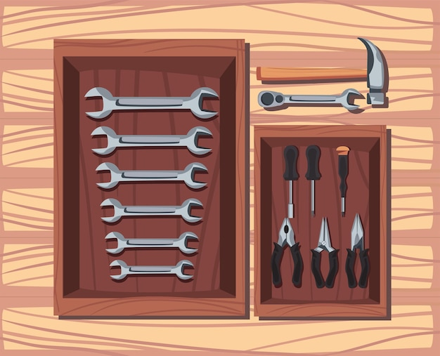 Collection of tools construction over wooden table