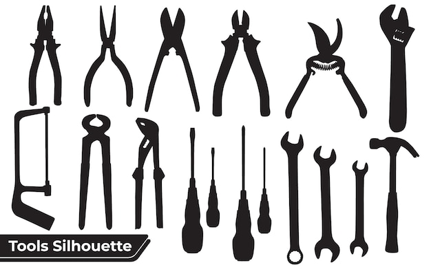Collection of tools silhouettes