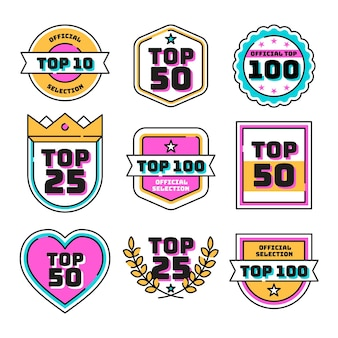 Collection of top ten labels Free Vector