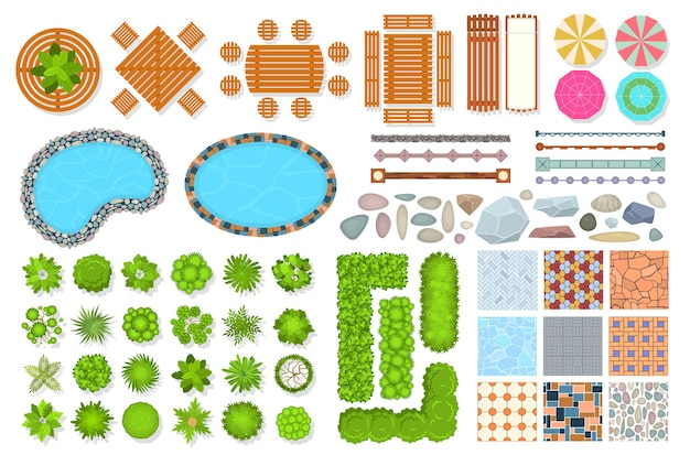 Collection of top view park items