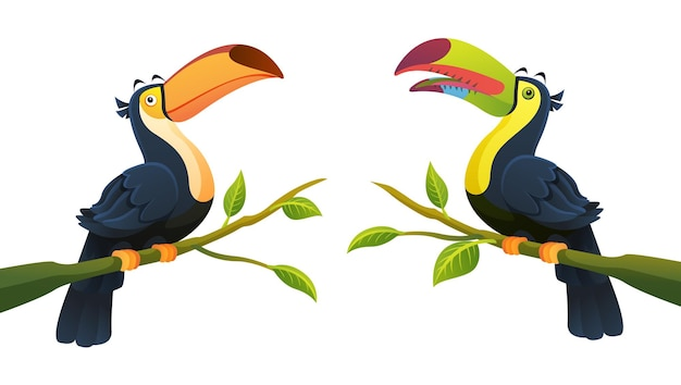 Collection of toucan bird perched on branch cartoon illustration