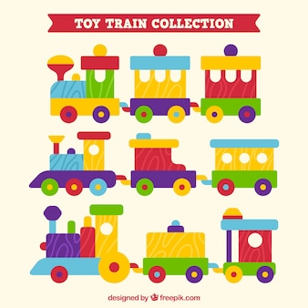 Collection of toy trains in flat design