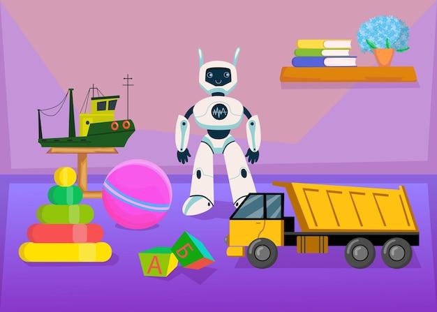 Collezione di giocattoli per bambini nella stanza della scuola materna