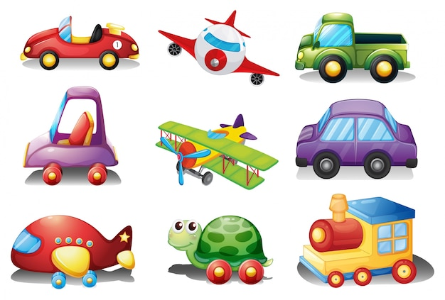 A collection of toys on a white background