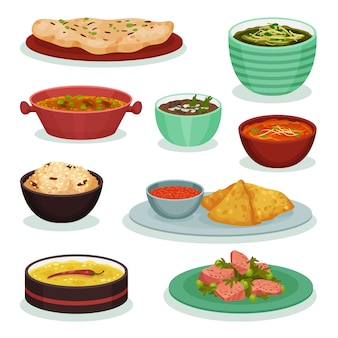 Collection of traditional indian food, chapati, roti, dahi maach, samosa, palak paneer  illustration on a white background