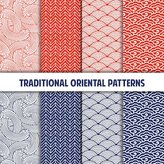 Collection of traditional japanese seamless patterns