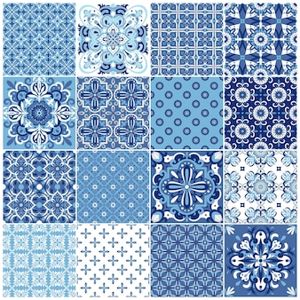 Collection traditional ornate portuguese tiles azulejos. ethnic folk ornament.