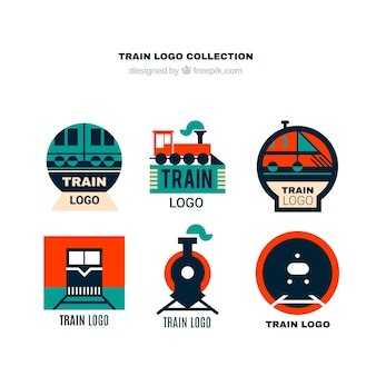 Collection of train logos in flat design