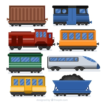 Collection of train wagons in flat design