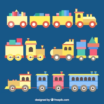 Collection of trains in flat design