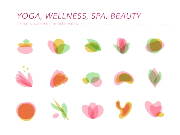 Collection of transparent beauty, spa, and yoga symbols in light colors isolated.