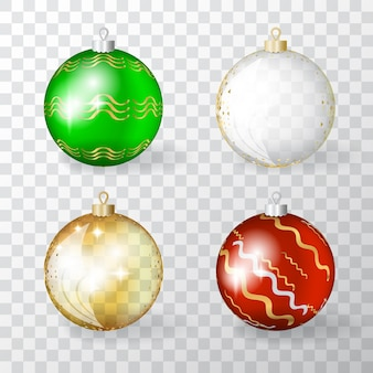 Collection of transparent realistic 3d christmas balls with golden ornament. set of gold, red and green xmas baubles or new year decoration ball elements