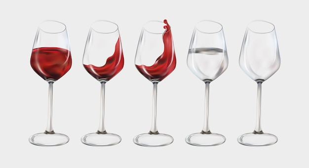 Коллекция прозрачных винных всплесков и воды в стекле. красное вино в стекле. иллюстрация