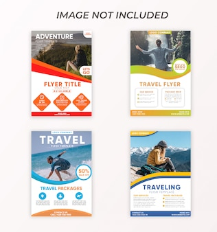 Collection travel flyer stylish modern template